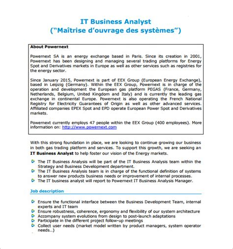 business analyst job description template 10 free word