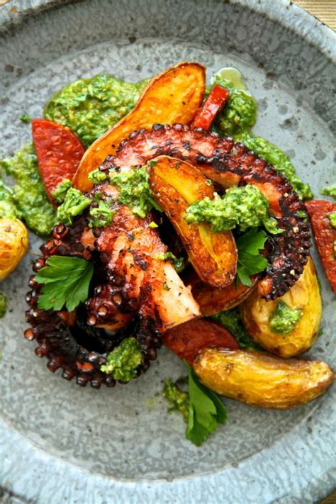 best octopus recipe octopus with fingerling potatoes chorizo and salsa verde