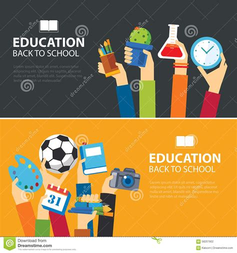banner design education education and back to school banner flat design stock