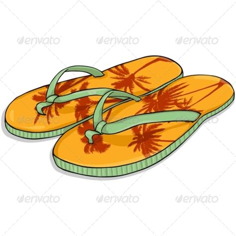 cartoon house shoes vector cartoon orange beach slippers graphicriver