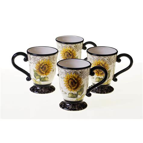 Nakami Mug Set 02 sunflowers 16 oz mug set of 4 43213set 4 the home depot