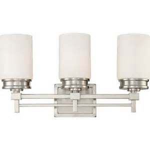 3 Light Bathroom Fixture Wright Nickel W Satin White Glass 3 Light Vanity Fixture Overstock Shopping Top Nuvo