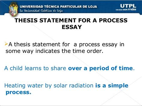 process analysis thesis statement exles chronological order process essays