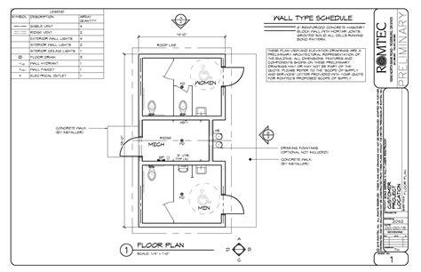 mechanical floor plan standard restrooms romtec inc