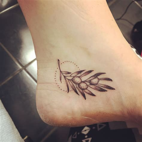 terminus tattoo olive branch on ankle by jenn at terminus city