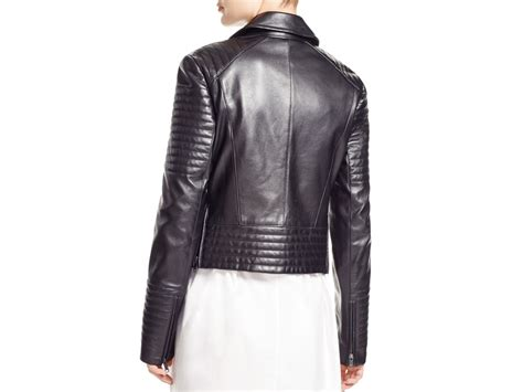 Black Leather Quilted Jacket by Dkny Quilted Leather Moto Jacket In Black Lyst