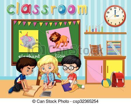 imagenes de niños trabajando matematicas en preescolar clipart vectorial de aula grupo ni 241 os trabajando