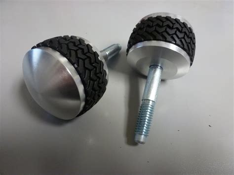 Tire Knobs by 66 To 77 Bronco Billet Tire Tread Windshield Knobs Pair