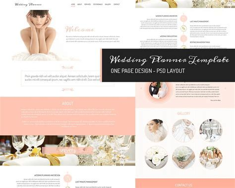 One page design   Wedding Planner ~ Website Templates