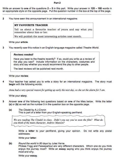 Writing Essay Exams by Sle Writing Paper 4th Medio Fce Programme 2014