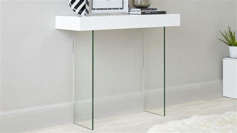 Living Room Furniture Ideas For Small Spaces modern white gloss and glass console table uk delivery