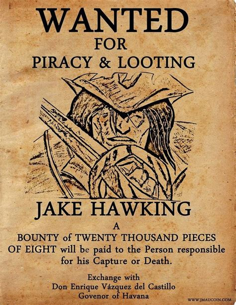 wanted pirate poster template jm aucoin jake hawking wanted poster jpg 742 215 960