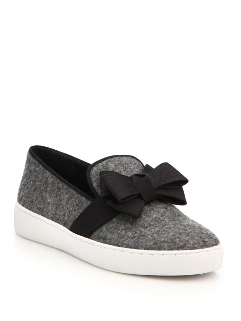 bow slip ons michael kors val flannel bow detail slip on sneakers in