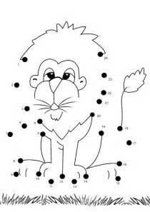 Free online printable kids games lion dot to dot