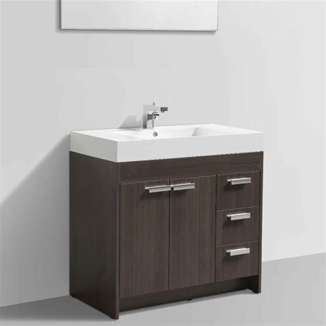 Modern White Bathroom Vanities by Eviva Lugano 36 Quot Grey Oak Modern Bathroom Vanity With