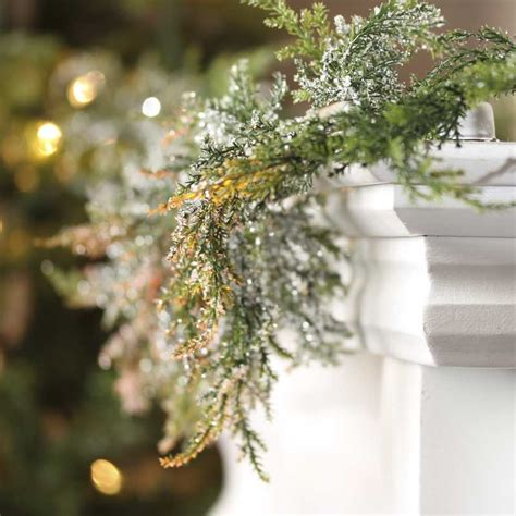 cedar garland artificial snowy artificial cedar garland florals