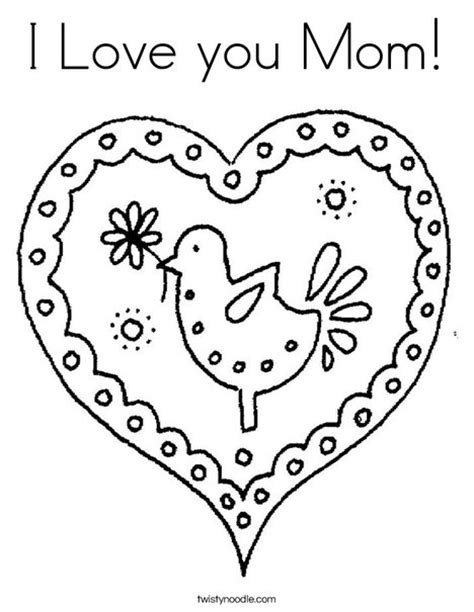 I Love You Mom Coloring Page Twisty Noodle I You Coloring Pictures