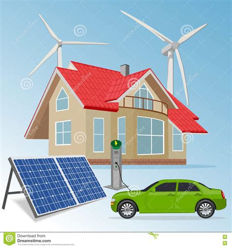renewable energy house design house with renewable energy sources vector illustration stock image image of