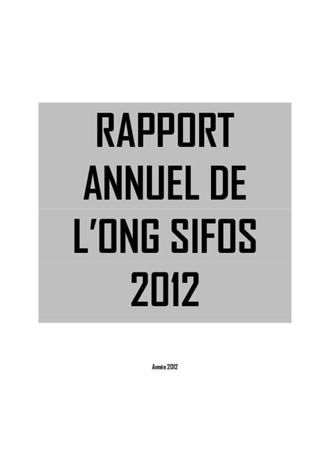Rapport annuel 2012 ong sifos