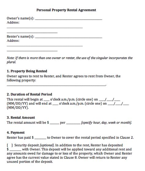 property rental agreement template printable sle rental agreement templates form real