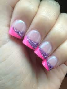 colored nail tips split tip pink and purple sparkley acrylic nails half