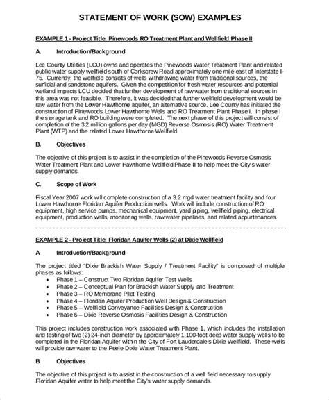 statement of work template 12 free pdf word excel