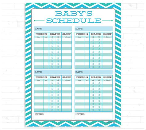 Feeding Chart For Infants Printable