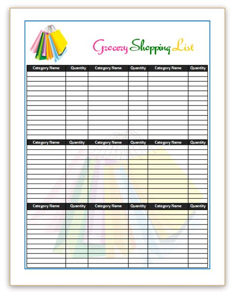 supermarket shopping list template grocery list template word grocery list template