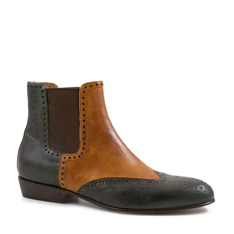 Handmade Booties - brogue chelsea boots handmade green leather