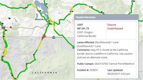 map of highway 97 oregon wildfire closes hwy 97 at oregon california border kval