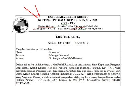 Contoh Suran Izin Karyawan Perusahan by Contoh Surat Kontrak Kerja Karyawan Koperasi
