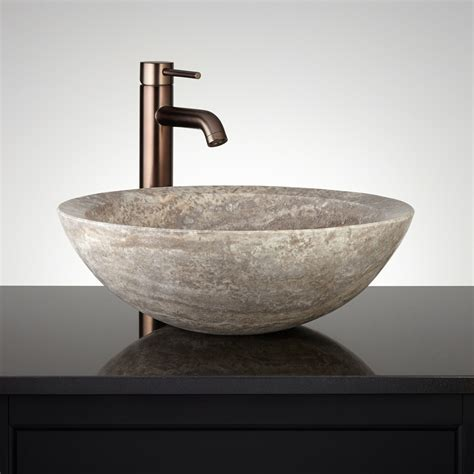 bathroom vessels round polished travertine vessel sink bathroom