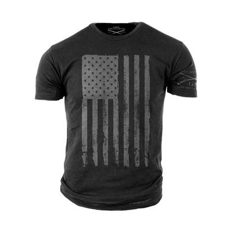 grunt style grey american flag t shirt