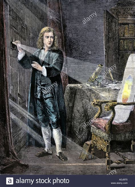 great britons sir isaac newton the man who laid the foundations of modern science sir isaac newton analyzing the colors in a ray of light stock photo 7675588 alamy