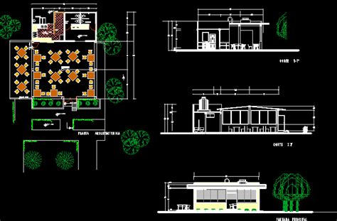 cafeteria dwg section  autocad designs cad