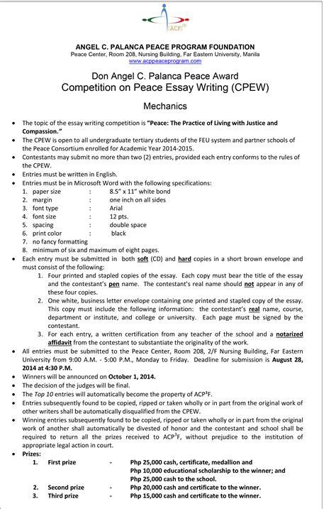 Essay Writing Contest Mechanics a written essay