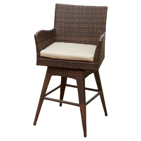 Braxton Pe Wicker Swivel Stool With Arms by To It Braxton Pe Wicker Swivel Bar Stool With