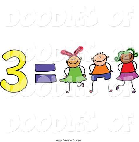 doodlebug clipart vector clipart of a doodle of 3 equals three by