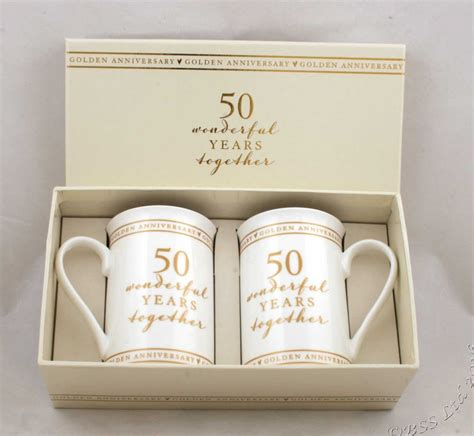 50th Wedding Anniversary Gift by 50th Golden Wedding Anniversary Pair Of Mugs Gift Set