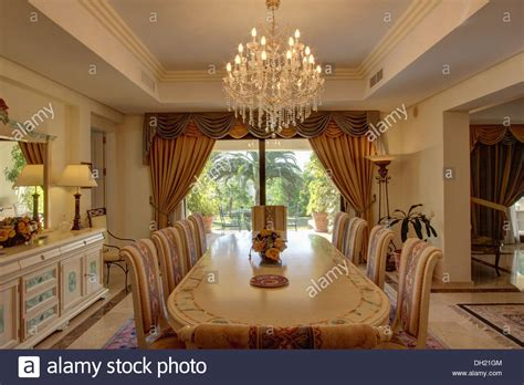 dining room in spanish dining room with spanish floor tiles royalty free stock