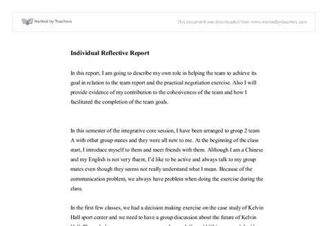 reflective report template individual reflective report education and
