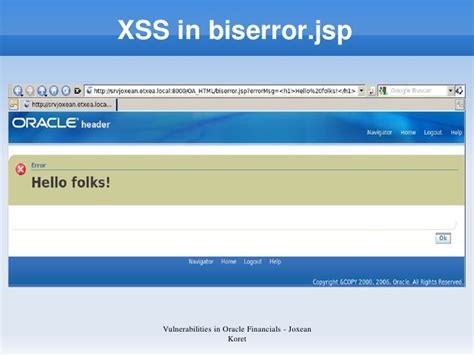 xss tutorial pl joxean koret hackproofing oracle financials 11i r12