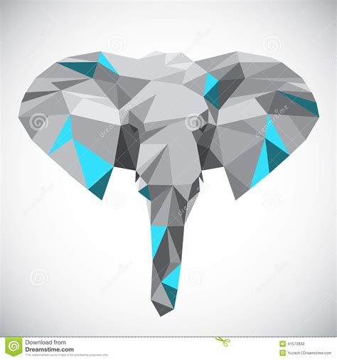 low polygonal elephant head in popular style stock vector