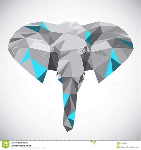 low polygonal elephant head in popular style stock vector