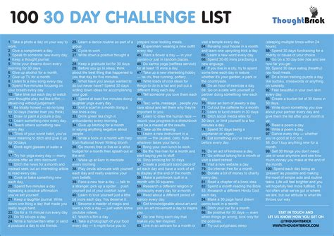 list of challenges the ultimate 30 day challenge list 100 ideas to get you