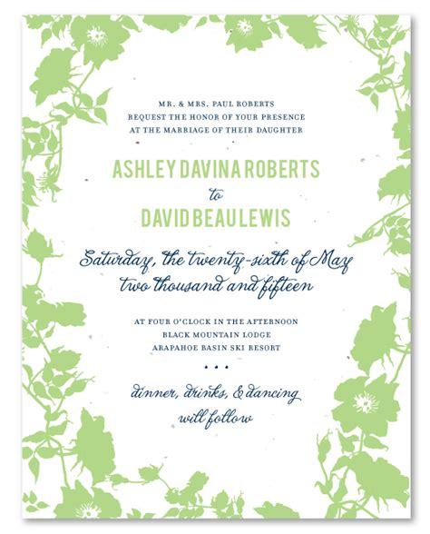 Garden Invitations by Garden Wedding Invitations On Seeded Paper Secret Garden