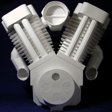 Papercraft Engine - v engine paper model