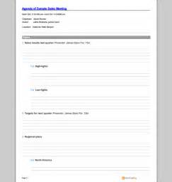 Sales Meeting Agenda Template by Sales Meeting Agenda Template Sle Templates