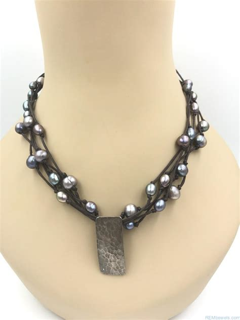 Sterling Silver Leather Necklace designer tica rosa sterling silver leather multi strand