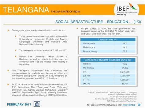 Mba Fee Reimbursement Telangana 2017 by Telangana State Report February 2017